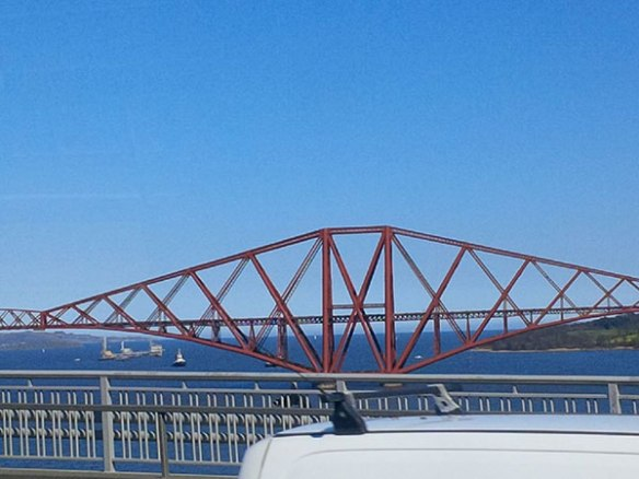 Wide sunny skies as we cross the Firth of Forth — the unseasonably warm weather is giving Belle and PJ a chance to acclimatise, ready for Spain!