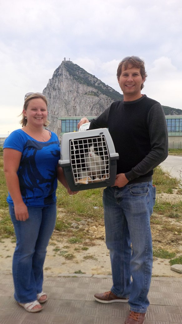 Vic and Andy welcoming Poppy to Gibraltar