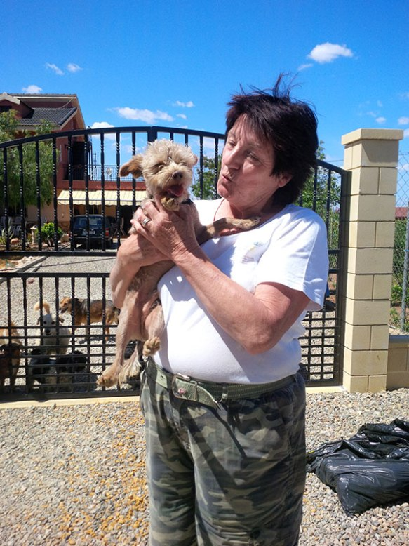 A goodbye hug for little Freddi from Linda — the number of dogs in her care went down from 28 to 27 today