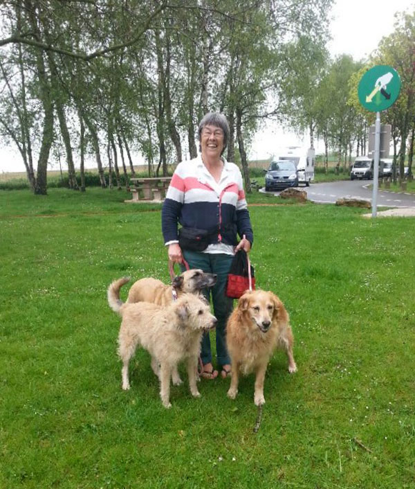 Anna's dogs stretch their legs in France after flying in from Chile
