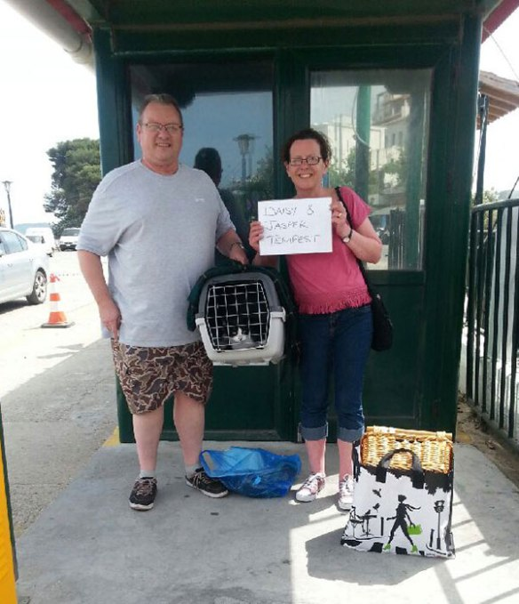 Stu and Siobhan with their cats safely delivered