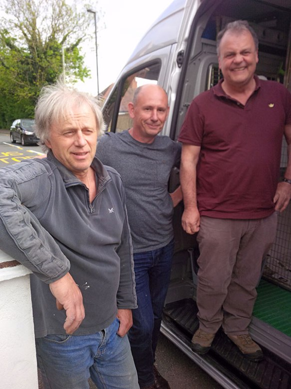 The three stooges: having collected many of our passengers from all over the UK, couriers R, D and Mike reluctantly stop for a photoshoot before couriers J and Mike hit the road for continental Europe
