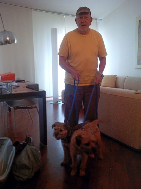 Barry with Timmy and Biscuit — the dogs were so excited as we drew up, they clearly knew they were home
