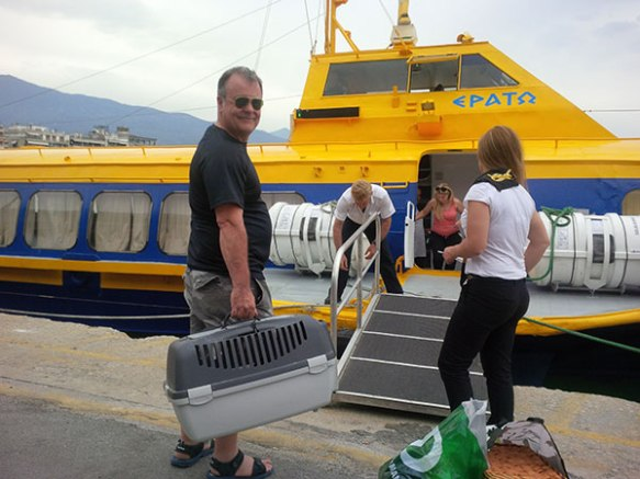 Mike boarding the seacat with his precious feline cargo
