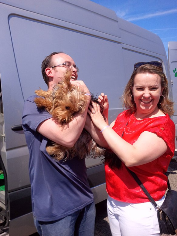 The happiest of reunions for Milly and her owners who've been apart for a while