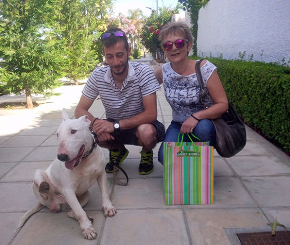 Bull Terrier Atlas with his uncle and grandma