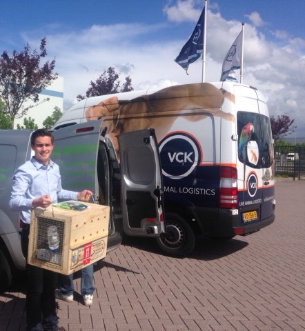 Courier Martin collecting Crouton in Amsterdam