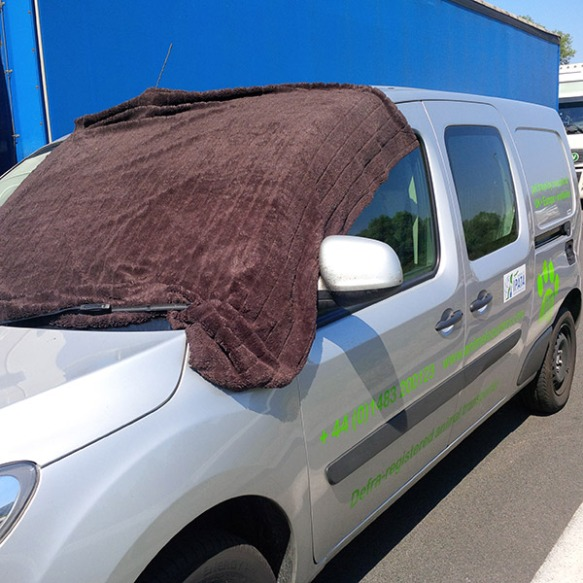 Aircon on and the windscreen shaded by a towel — kept our van lovely and cool!