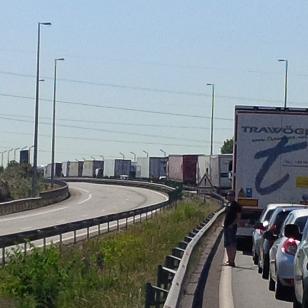 Lorries and cars stopped on the motorway to Calais