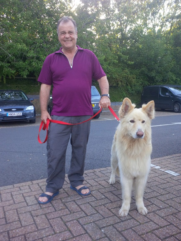 Courier Mike with handsome floofy Lorek