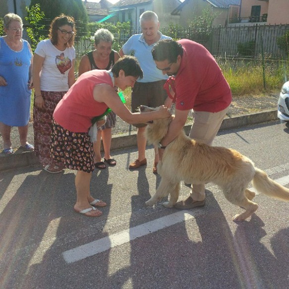 A joyful reunion for Iorek with his owner's sister Nadia and other members of the family