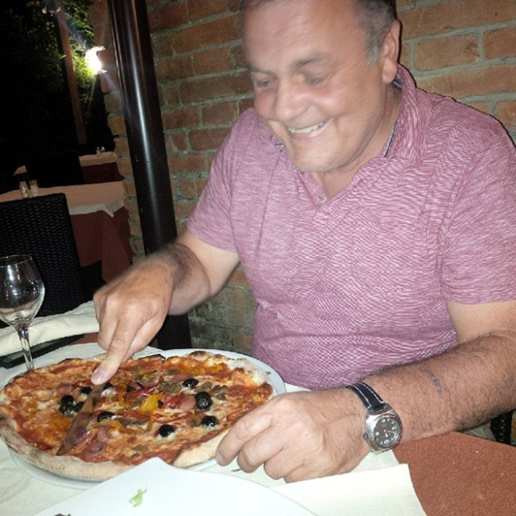 Man versus pizza. Courier Mike was beaten hands down!