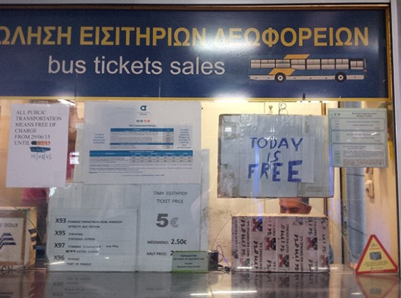 At Athens airport courier J found that all bus tickets were free of charge — no surprise then that it was standing room only!