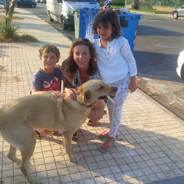 Last, but by no means least, miss Bumble was greeted by an enthusiastic family in Athens. Bumble, by the way, is eating a chew and not smoking a cigar.