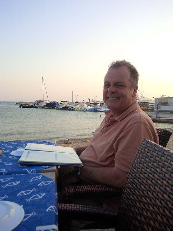 A last evening meal in the sun by the beach for courier Mike before heading back to the colder climes of Yorkshire