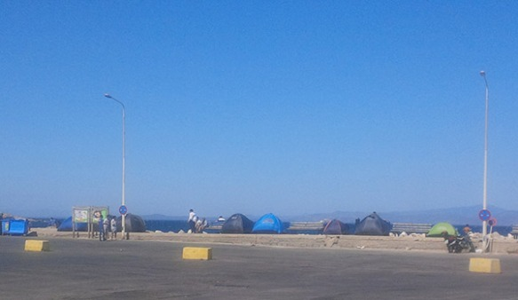 Refugees' tents at Mytilini