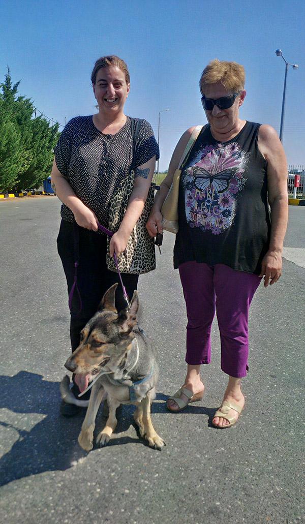 Maria and her mum with German Shepherd Judi