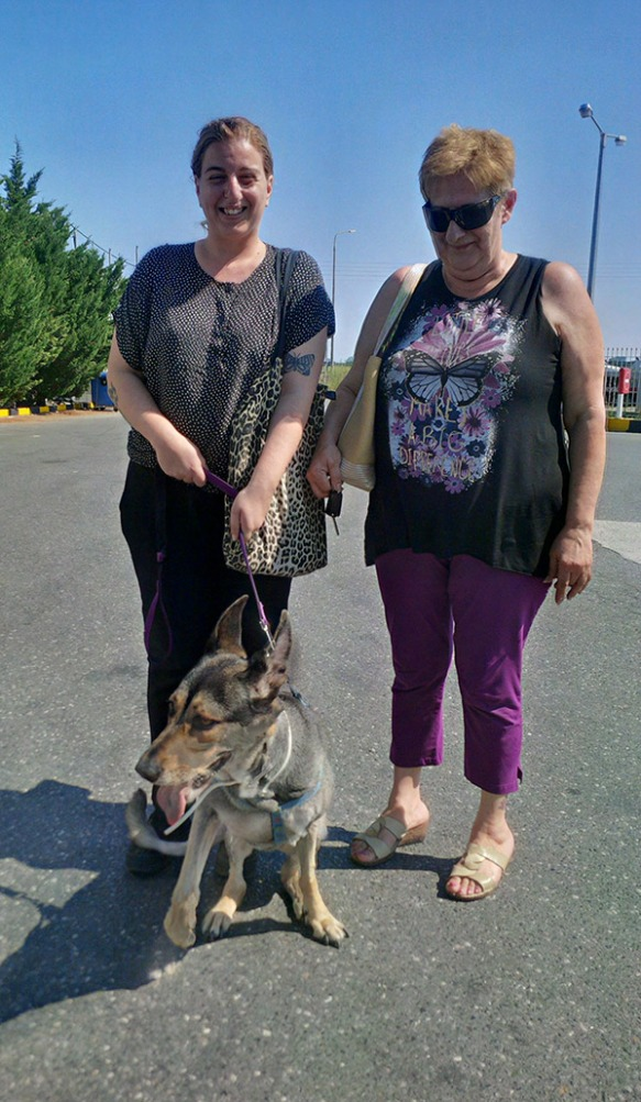 Maria and her mum with German Shepherd Judi