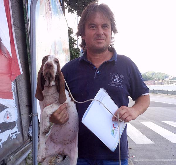 Maurice saying goodbye to puppy Zeva