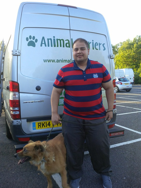 Neo very pleased to be back with owner Christos — we met up at Maidstone services on the way back to our Surrey base.