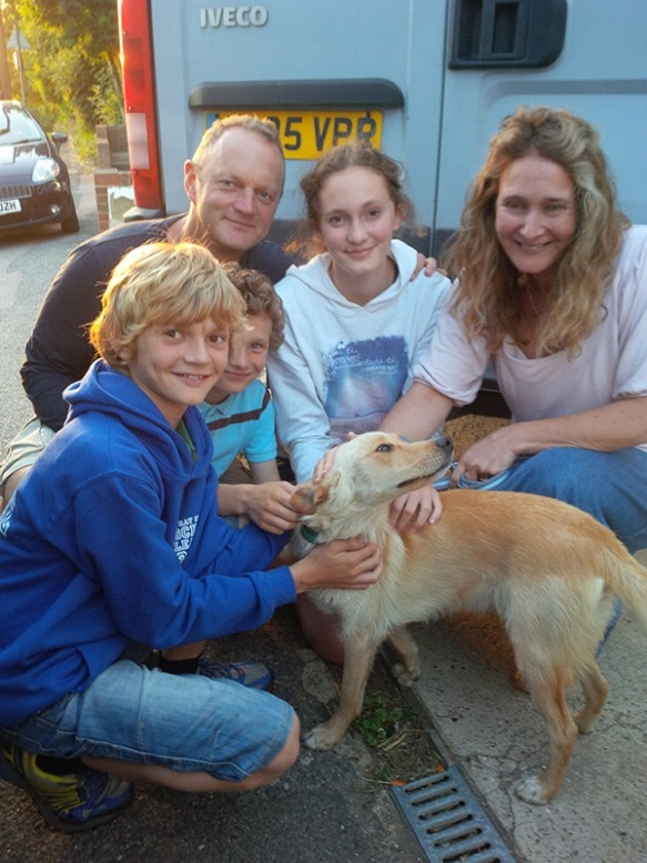 Here's Hector with Jo, Jonny, Tilly, Samuel and William. Hector just loved being stroked and cuddled and showed everyone how pleased he was to be joining the family.