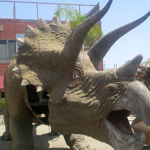 We spotted dinos galore at Dos Hermanos when collecting Swarsky. Everyone loves a dinosaur, especially courier J's three-year-old grandson, who's just graduated to a two-wheeled bike, and courier M's 23 year old daughter who's just graduated as a teacher. So, all you dino-fans out there, which one is this?