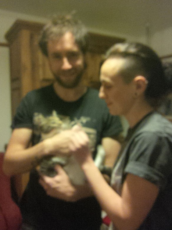 Will and Elli called for Gigi, a kitten Will met while out jogging in the Lot region of France. They were so excited they rushed down from London as soon as we let them know we were back.