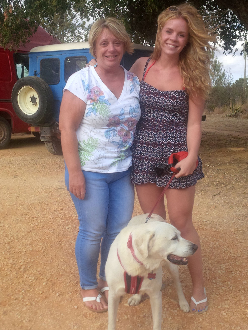 Louise and Rebecca with their lovely Lab Shelley