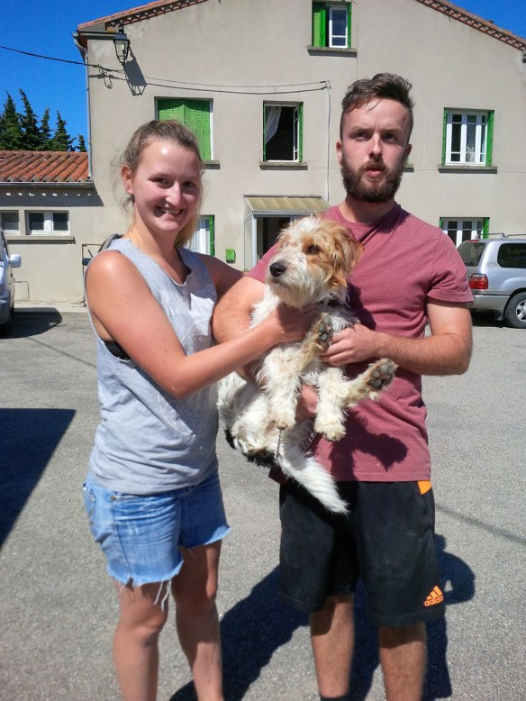 Baxter with Maddie and Sam