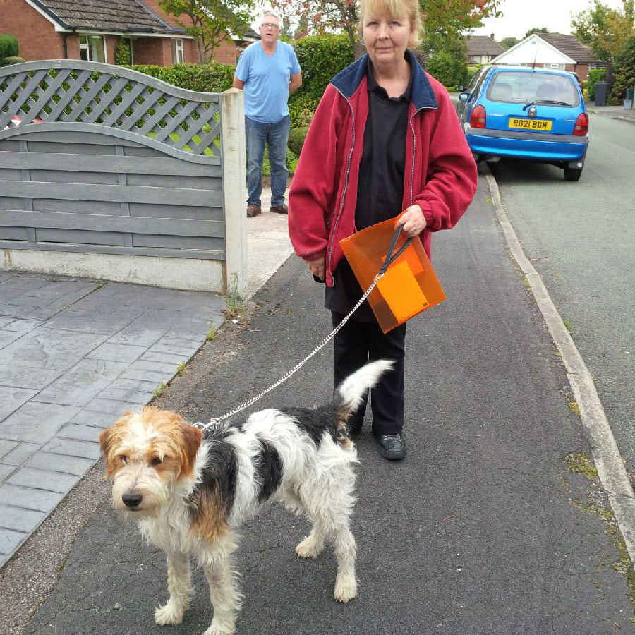 Baxter at his grandparents' home — here he is with Sam's mum Jane