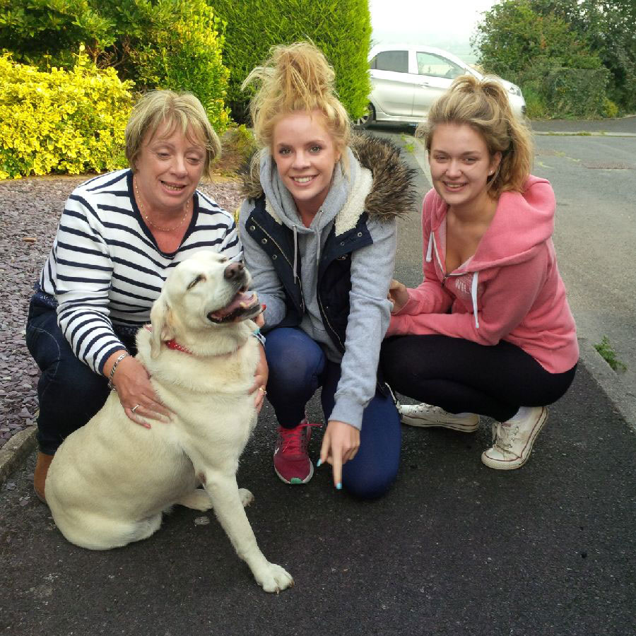 Shelley, who travelled with us from the Portuguese Algarve, back with her family in Ballymena — the look of sheer delight on Shelley's face makes you believe a dog really can smile
