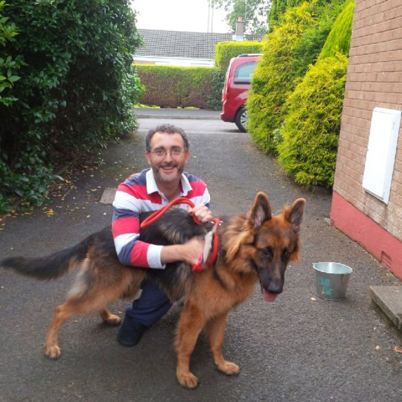 In Belfast, a very happy Jose with Bingo, who travelled with us from Spain
