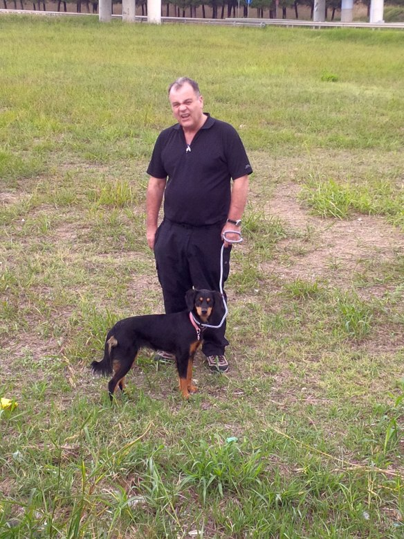 Tasha, Corby's companion, with courier Mike