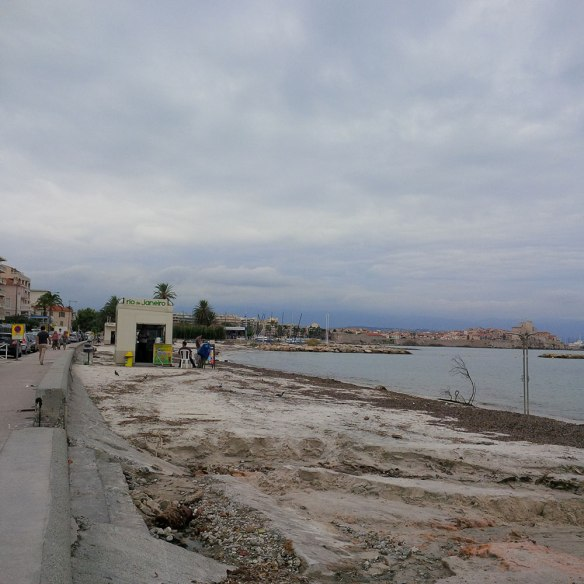 Juan les Pins after the storms — not what it usually looks like