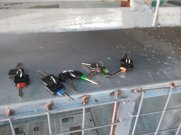 Keys to the padlocks, for security