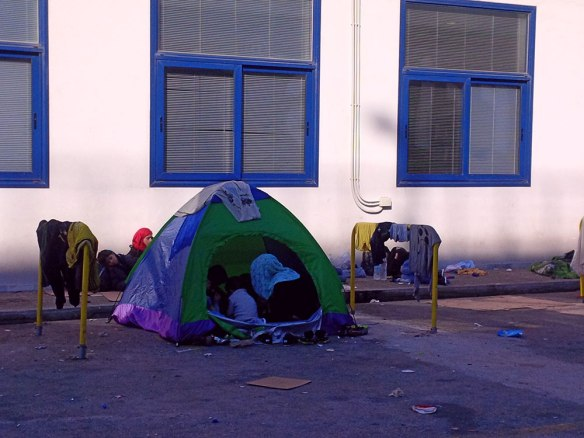 …and a microcosm of the homeless people who've arrived there