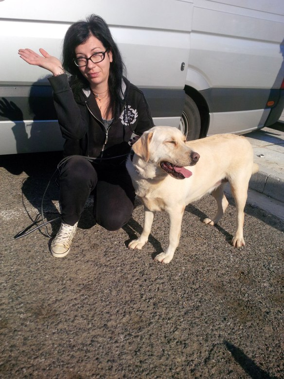 Anastasia's dog Sugar, with Martina, at whose kennels Sugar has been staying