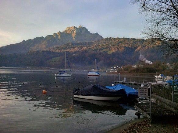 Lake Lucerne, where the dogs enjoyed autumnal walks