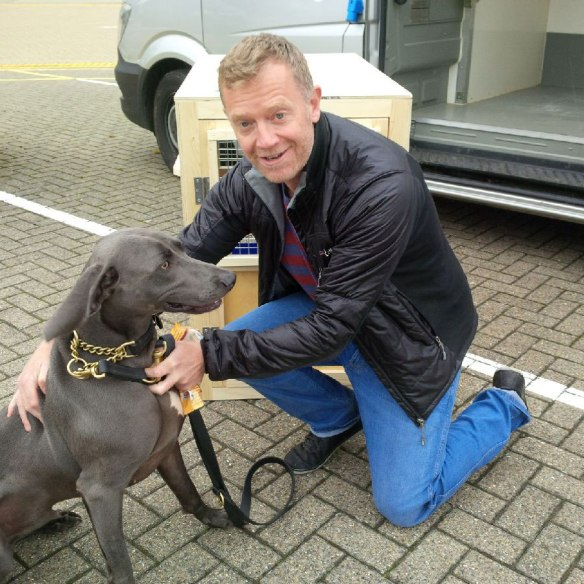 Handsome hound Dylan and his owner — they managed to book onto the same flight